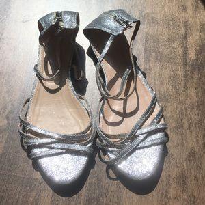 Silver Glitter J.Crew Flat Sandals